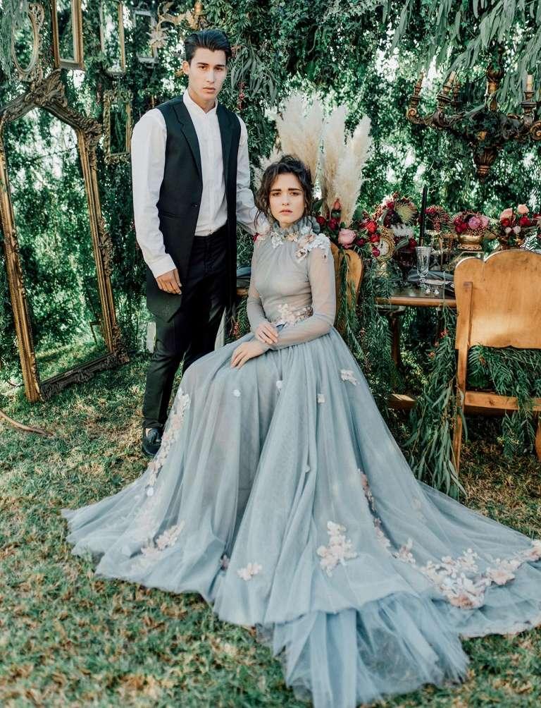 Secret Garden Wedding Inspiration With Flower Studded Dusty Blue Dress